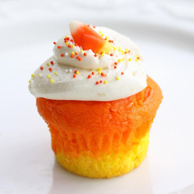 Recipe: http://www.the-girl-who-ate-everything.com/2011/10/candy-corn-cupcakes.html