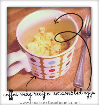 For easy breakfast, make scrambled eggs in the microwave using a coffee mug.  And it only takes up a minute and a half of your precious time. Spray the mug with nonstick cooking spray, crack two eggs into the mug, and add some shredded cheese and a splash of milk. Place in microwave for 45 seconds.