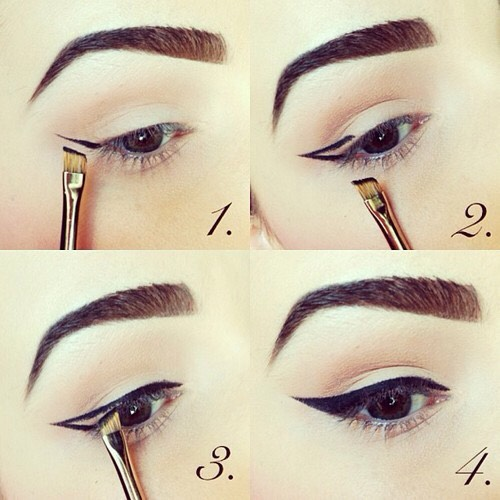 "Line your eyes starting at the outer corner. ""To create the perfect angle for your eyeliner, line the outer corner of the lower lash line first and extend slightly beyond the corner of the eye. Then come back in toward the upper lash line.Using this line as your guide will give you a beautiful line!"