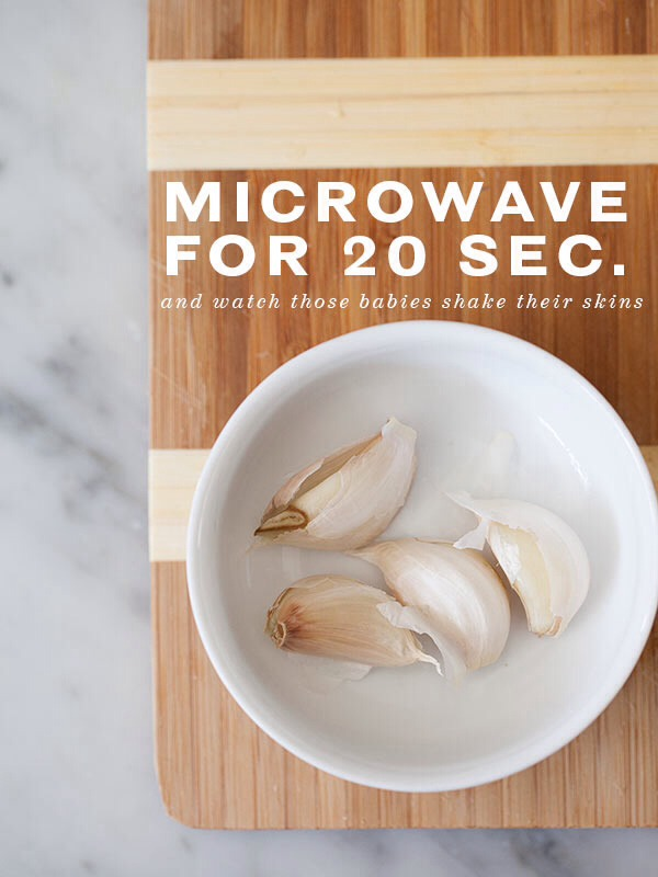 Just microwave for 15-20 seconds! They will be slightly hot when they come out so be careful. Then just pinch the peels right off! They will slip off as soon as your pick them up.