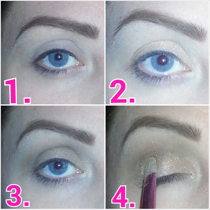1.prime eyes.  2.apply the lightest shimmery shadow to lid.  3.using blending brush, blend the lightest gray color into the crease.  4.pack that same light shimmery shadow back onto the lid in case of any fall out from crease.