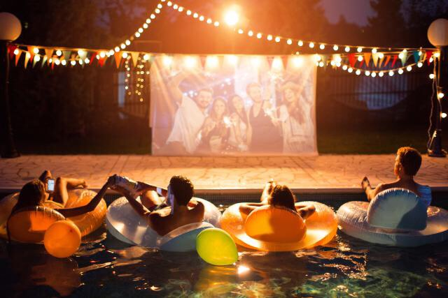 If you have a pool, give guests the option to watch the movie from there