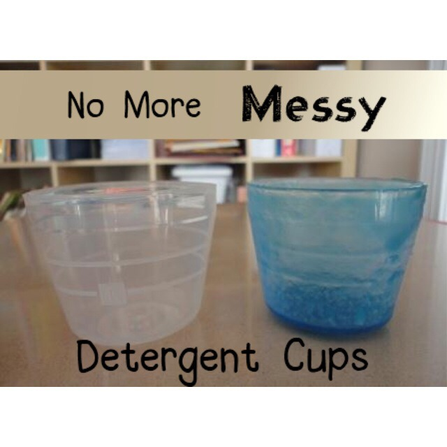 After you pour the detergent, put the cup in with your load of laundry. It'll come out nice and clean!