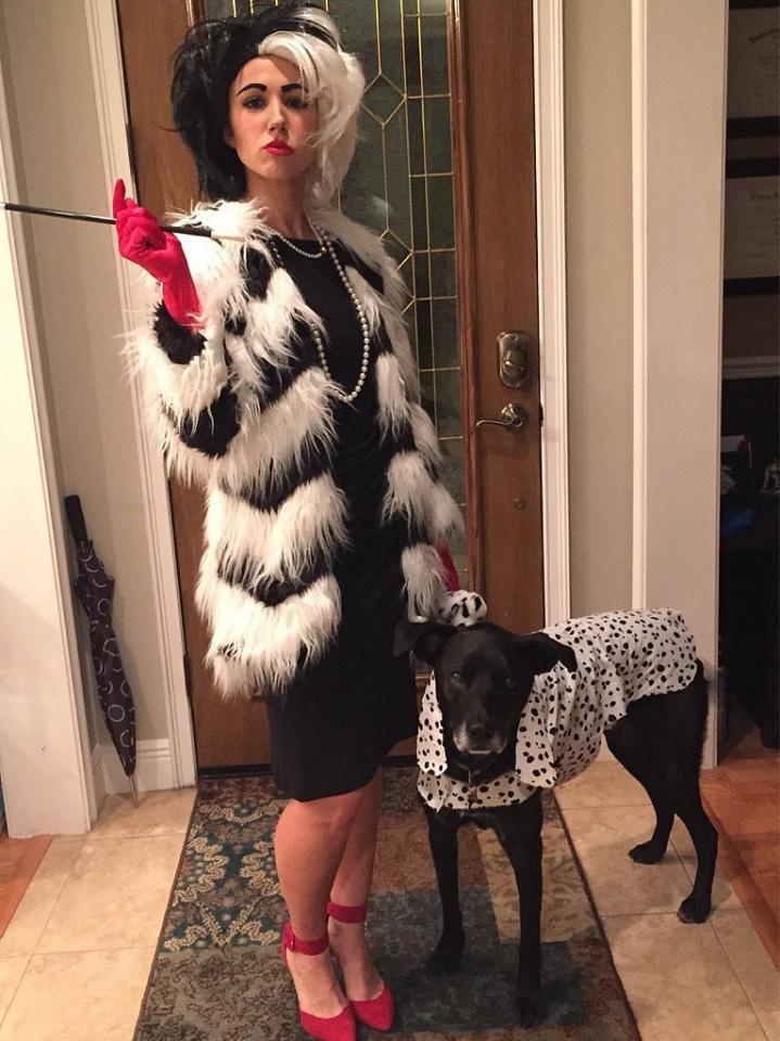 Cruella de Vil (Note the Pup's Cute Costume!)