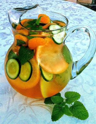 Fresh fruit-infused water makes for a hydrating beverage