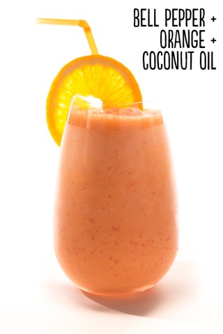 How to: Place 1 red bell pepper (quartered, stem and seeds removed), 1 peeled navel orange, and 1 tablespoon coconut oil into a blender. Blend until smooth. Serves 1.  Extras: Spice it up with cayenne pepper or ground cinnamon.