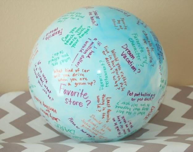 """19. Make a """"toss and talk"""" ball to ensure the conversation never lags."""