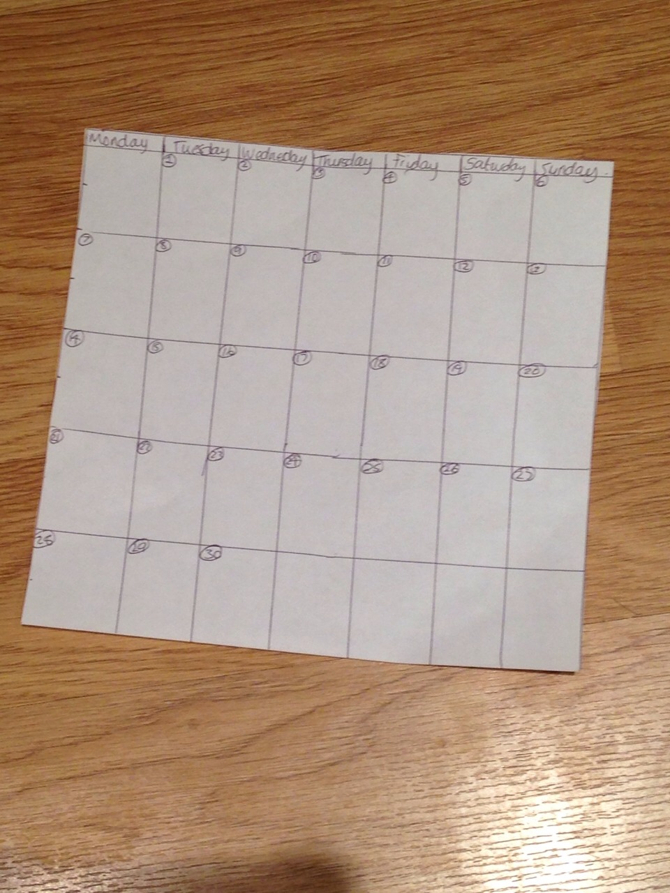 Draw yourself or print off a calendar of the month