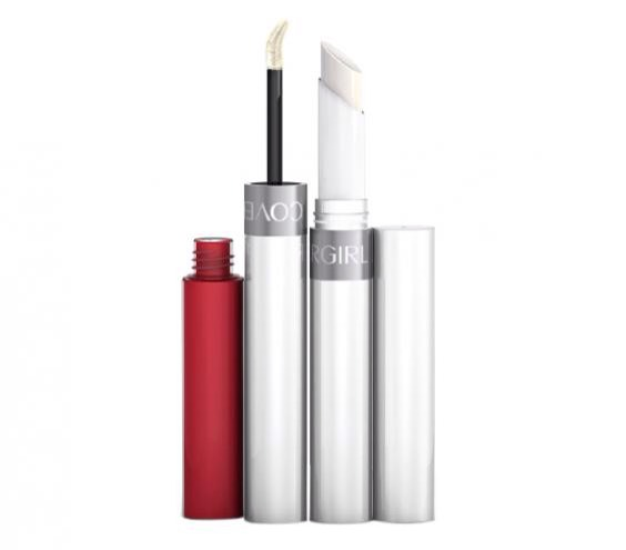CoverGirl Outlast All-Day Lipcolor in Ever Red-dy For a classic red that doesn't fade or feather, try this double-sided (and double-duty) duo. One end packs creamy pigment and a flocked applicator for even coverage; the other has a moisturizing balm that seals in color for up to 24 hours.