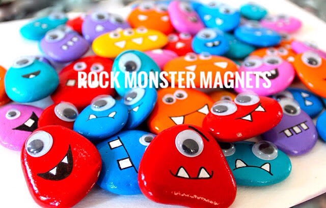 9 | DIY Rock Monster Magnets  Aren't these monster magnets simply adorable? Their bright colors were achieved with nail polish!