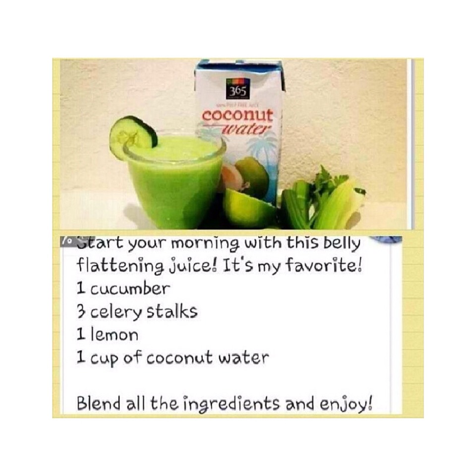 2 cucumber 3 celery stalks Squeeze 1 lemon and use the juice 1 cup of coconut water  Blend and enjoy!