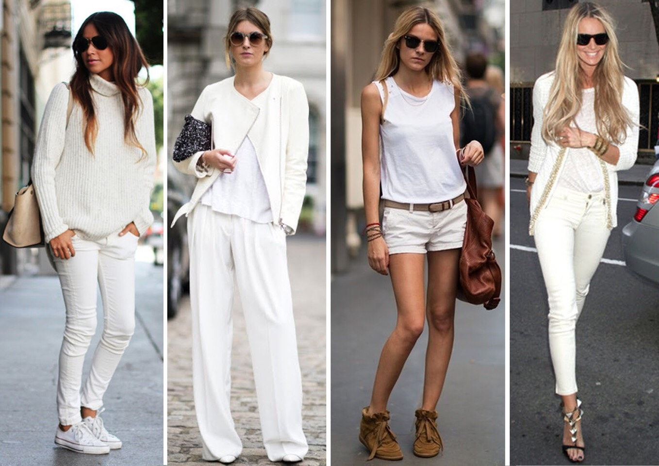 All white outfits Wearing head-to-toe white has come full circle—literally you can wear it year-round. This season, focus on different ways you can mix it up with layers, shades, textures, prints, and opacity.