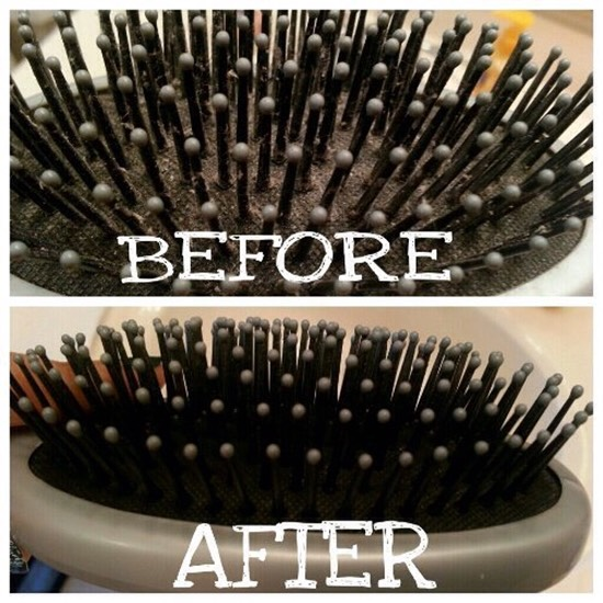 Clean your hairbrush properly with a toothbrush