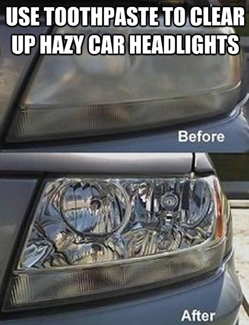 Use toothpaste to clean the headlights. Sorry for the image.