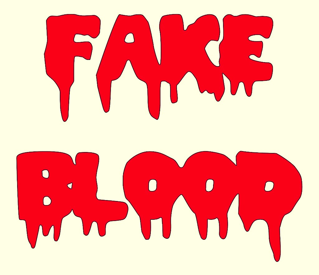 Fake Blood- Mix 2/3 cup white corn syrup, 1 tsp. red food coloring, 2-3 drops blue food coloring to darken and 1 squirt dish soap (helps blood to run well).