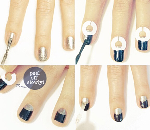 2. Half Moon Nail ManicureUse Stickers that have wholes in the center shown above and place on the cuticle area of the nail. Paint over and then peel off for the chic design.