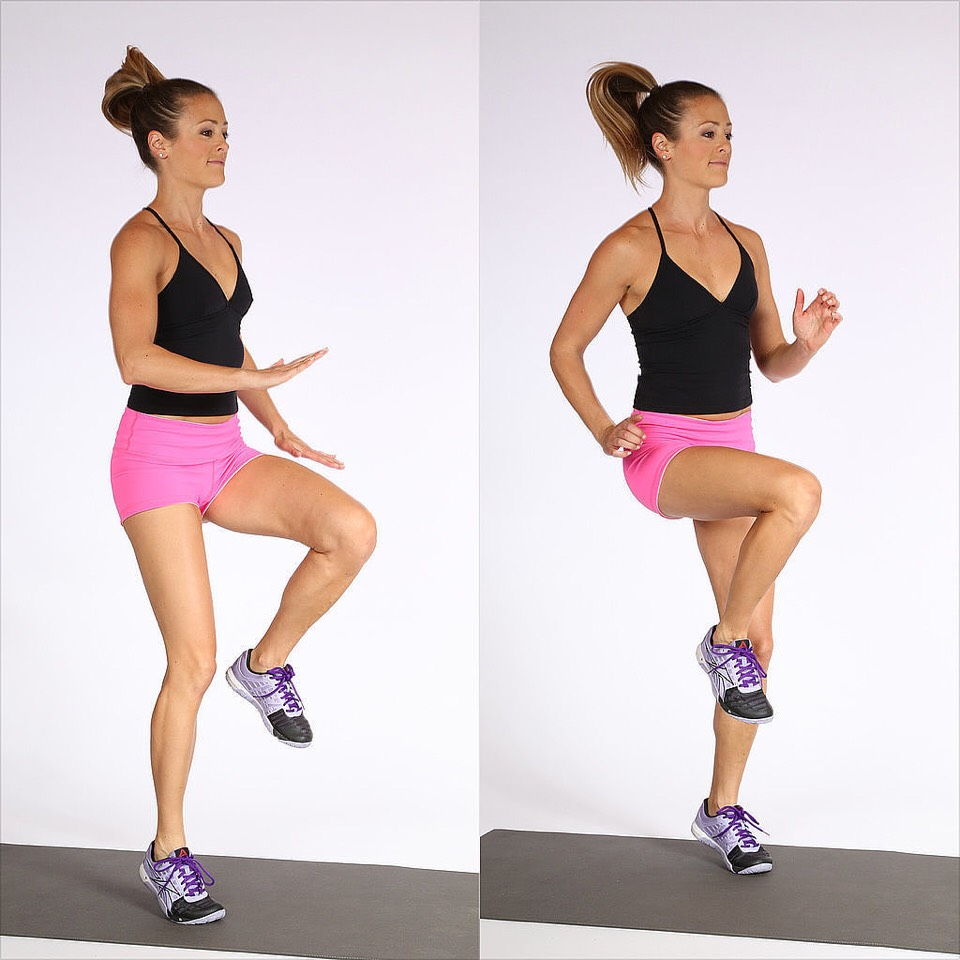 High knees: bring left knee up to your chest and then your right as fast as possible. Do 4 sets of 30 seconds
