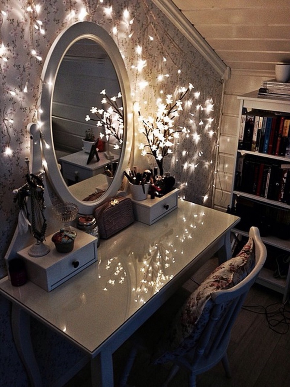 Make your vanity table look more enchanting with Christmas lights