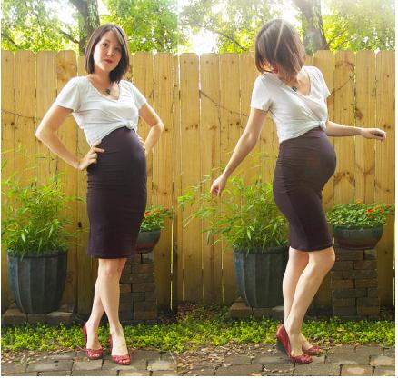 Wear your stretchy pencil skirt with a knotted T-shirt