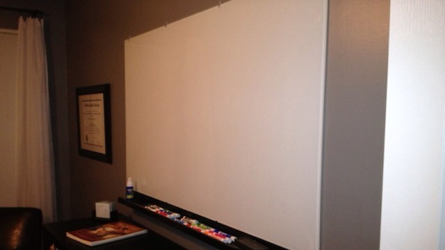 Prior to applying the chalkboard paint, you need to coat the wall with white latex paint. Chalkboard paint is latex based so both the latex and the white coloring will make a huge difference in how nice it comes out. Avoid shiny surfaces by sanding any down prior to application of primer or paint