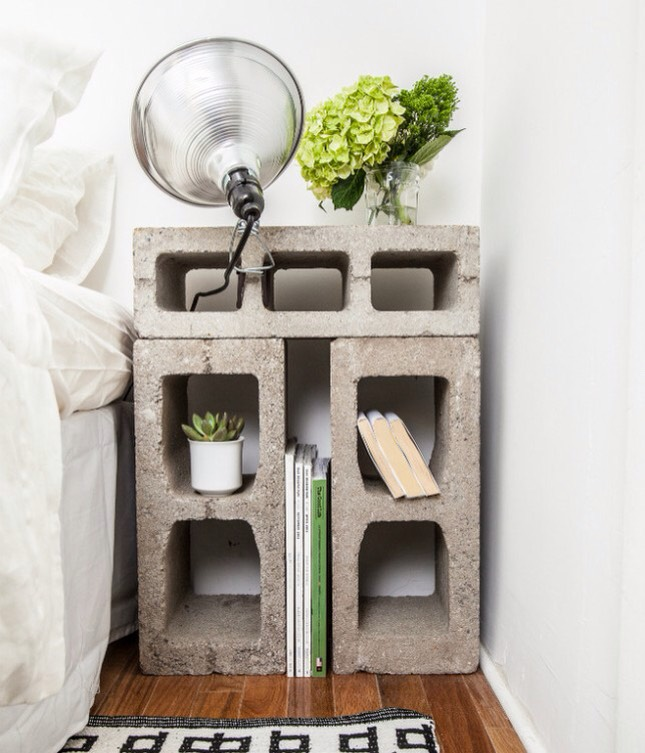Cinder block nightstand