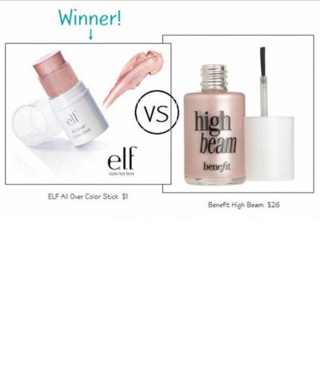 ELF Essential All Over Color Stick in Persimmon ($1) vs. Benefit High Beam ($26)