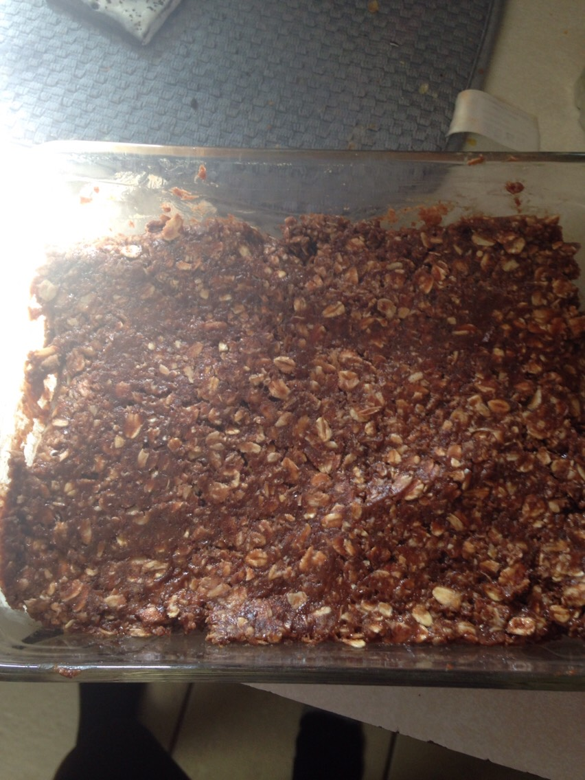 Put in a glass pan what you would use to make brownies it, spread it, use your hands to press down, top it off with chopped walnuts or pecans!