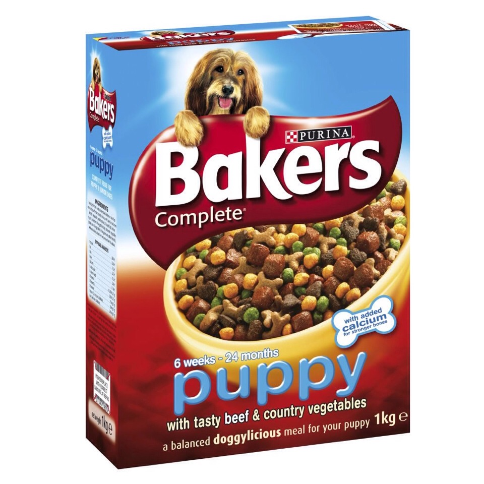 Puppy food! Needs to be puppy because puppies need more nutrients that older dogs