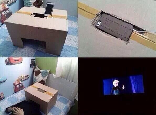 Get a box and cut out a hole big enough for your phone and your head to fit and it's like your own private theater for just yourself!
