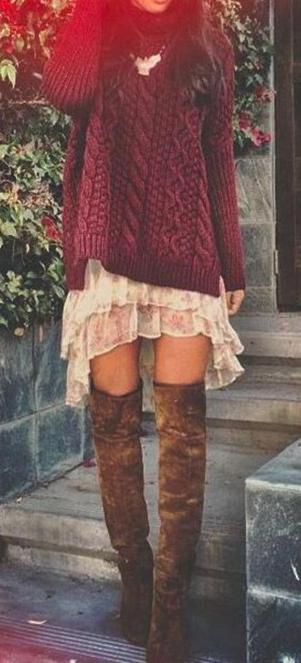 24. Red Knit & Knee Length Boots Winter Street Style
