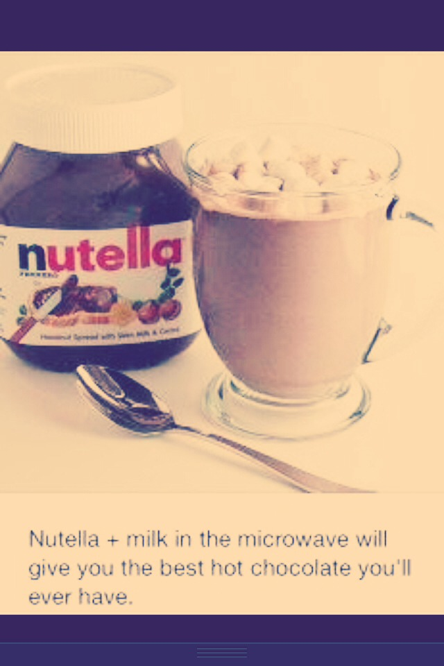 Nutella and milk in the microwave, then stir it up and drink it down!