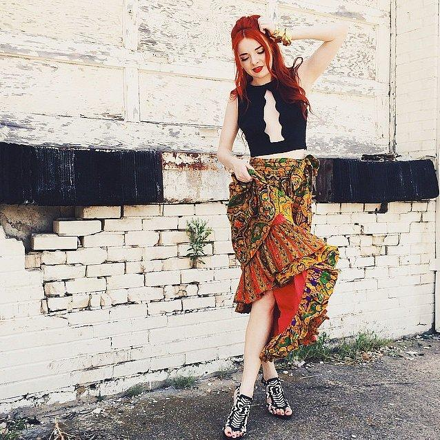 And Unexpected Cutouts Despite print mixing and a crop top with scalloped details, this look doesn't feel too busy.