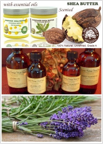 Ingredients 1/2 cup shea butter 2 Tbsp oil (I used 1 Tbsp each of almond oil and jojoba oil) 10-15 drops of your favorite essential oils (I used lavenderand rosemary)