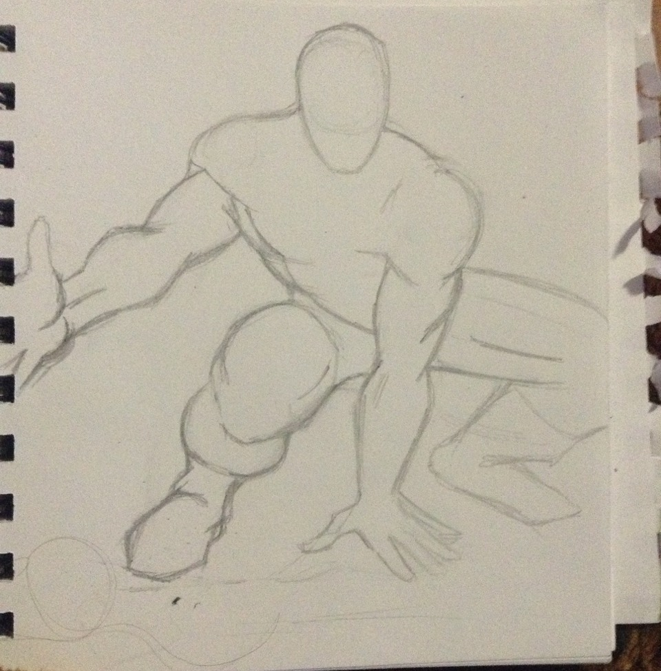 Start off with a basic sketch of the body using a 6H PrismaColor pencil.