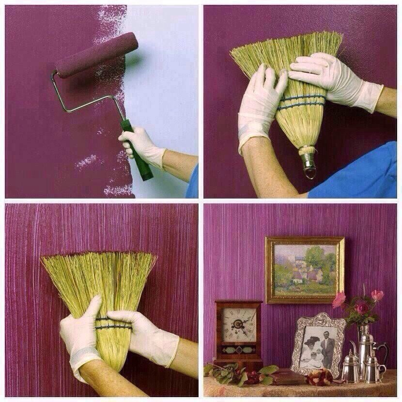 Paint wall a darker color then dip a broom in a light color for cool striped texture :)