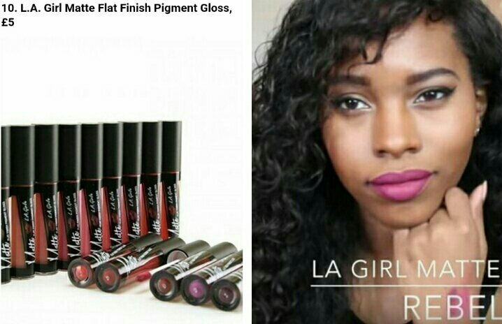L.A. Girl Matte Flat Finish Pigment Gloss, it's not very high pigment so two coat should be applied .   Example by Jay Thomas (subscribe in YouTube) with the shade Rebel .