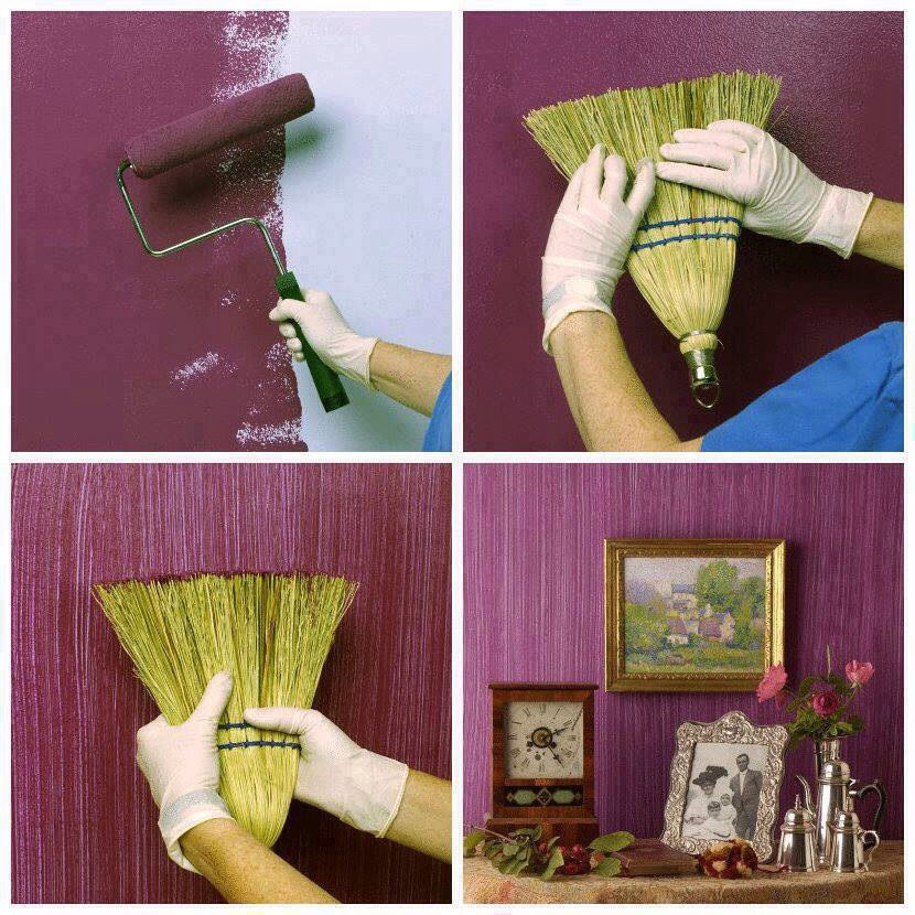 Use an old broom to create textured painting for a rustic look