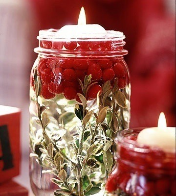 Choose Any Greens Of Your Choice, Add Water, Top It With Cranberries, Then Add A  Floating Candle (: