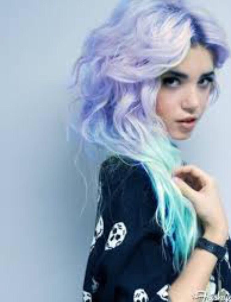 Lovely soft lavender into a pretty neon pastel blue ombré