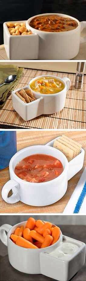 10. Set of 2 Ceramic Soup and Cracker Mugs, $15   Salsa and chips. Cookies and milk. The possibilities are endless. Get 'em at amazon.com