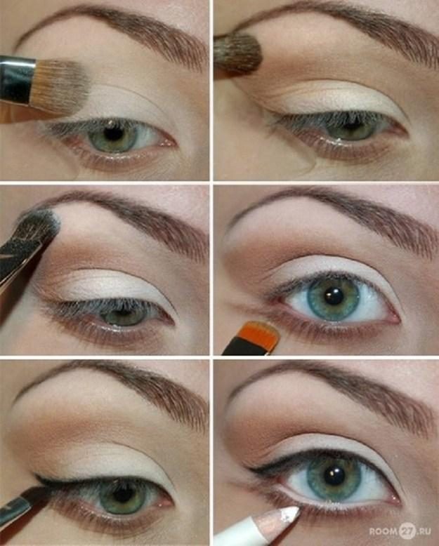 Very simple and easy makeup for green eyes.