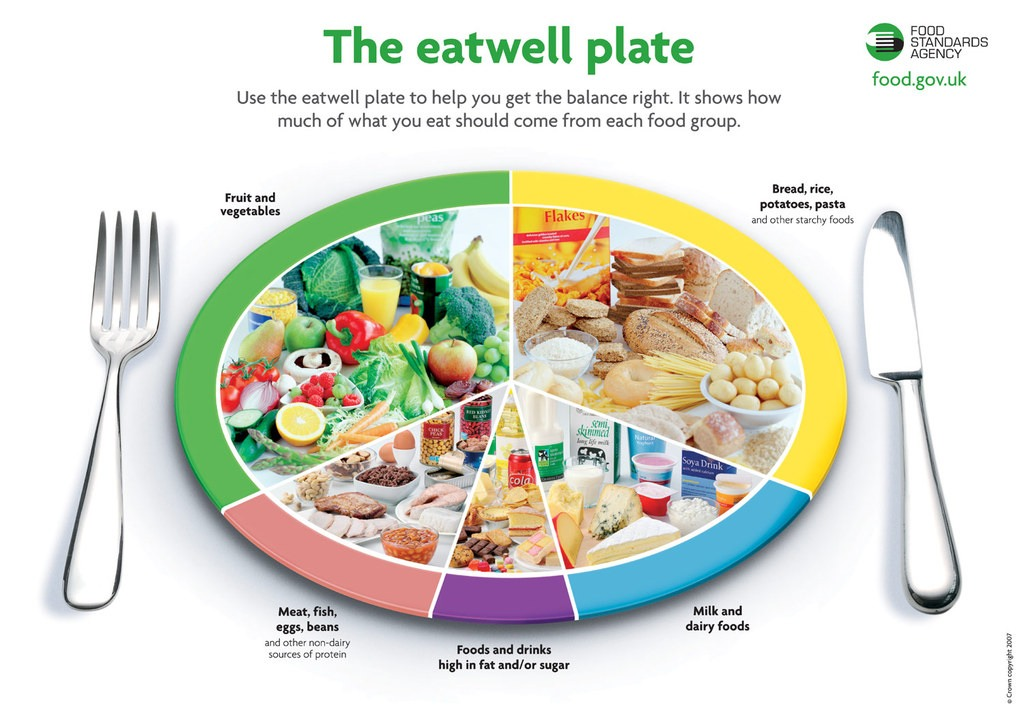 The eat well plate with fruit and vegetables, meat, fish, eggs, and beans, foods and drinks high in fat and/or sugar, milk and dairy foods, and bread, rice, potatoes, pasta