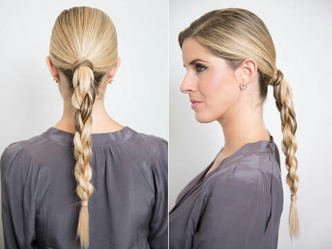 Start with a low ponytail and wrap a piece of hair around the hair tie so it looks polished. Then create four sections — to make this easy, label them in your head as one, two, three, four from left to right.