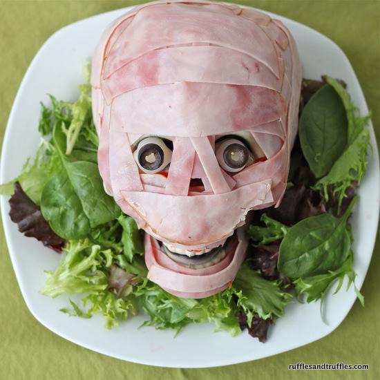 Meat Head  Totally edible, but maybe more of a centerpiece?  http://rufflesandtruffles.com/2012/10/meat-head/