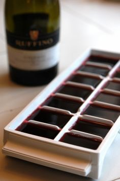7. Add leftover wine to ice cube molds or a muffin tin and freeze to use for cooking later.