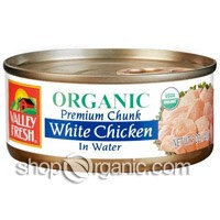 Get canned chicken, it doesn't have to be organic.