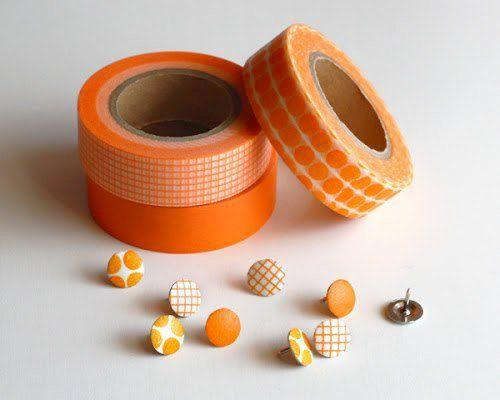 cover your plain brads with washi tape for a cute color for your card décor or scrapbook decoration with different color washi tape