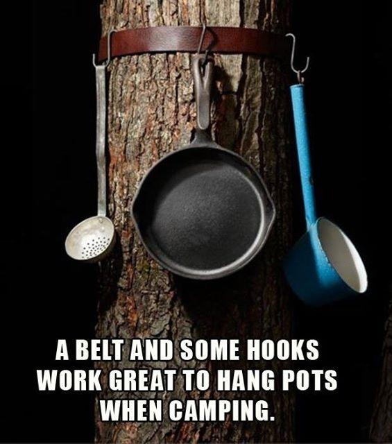 Here's A Simple Pots-N-Pans Holder Idea While Camping!