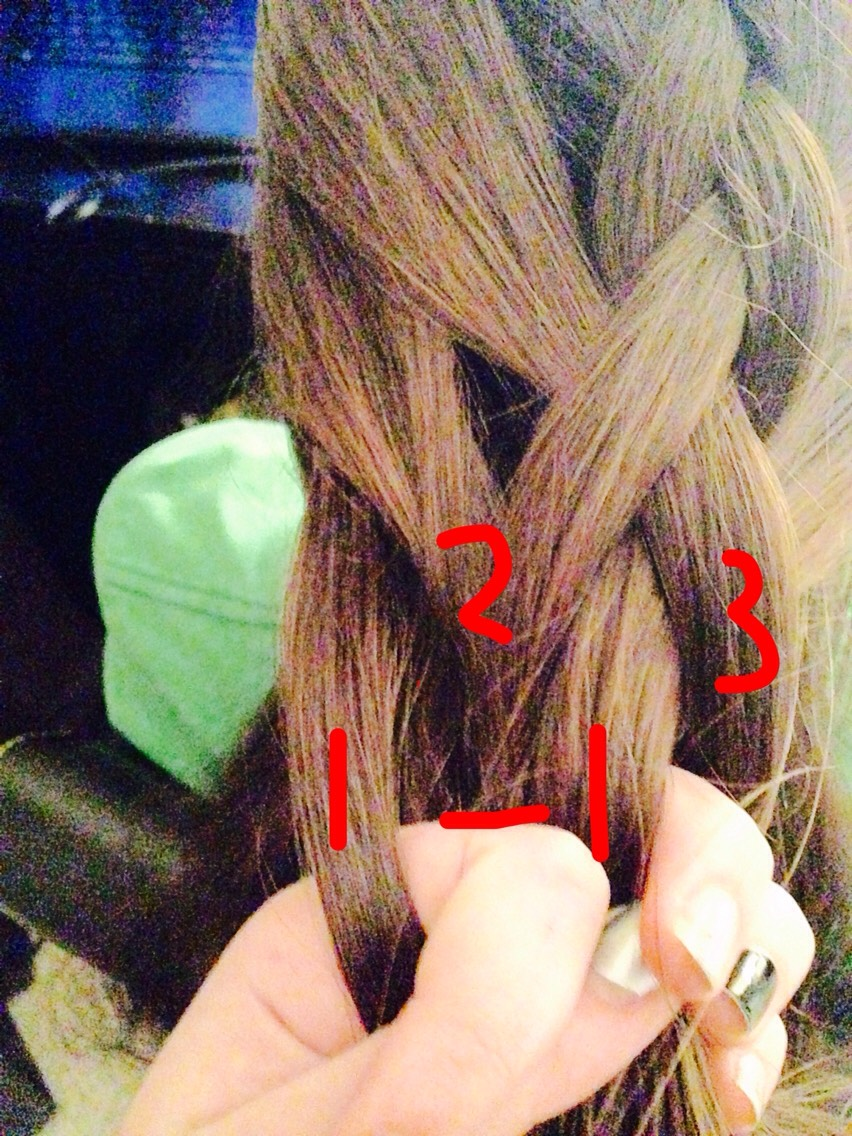 Sorry I didn't have a picture for this part but you are going to take the middle section (#1) and put it over section (#2)  Make see you add the hair from the front into section (#1) like you've been doing! Next page---👉