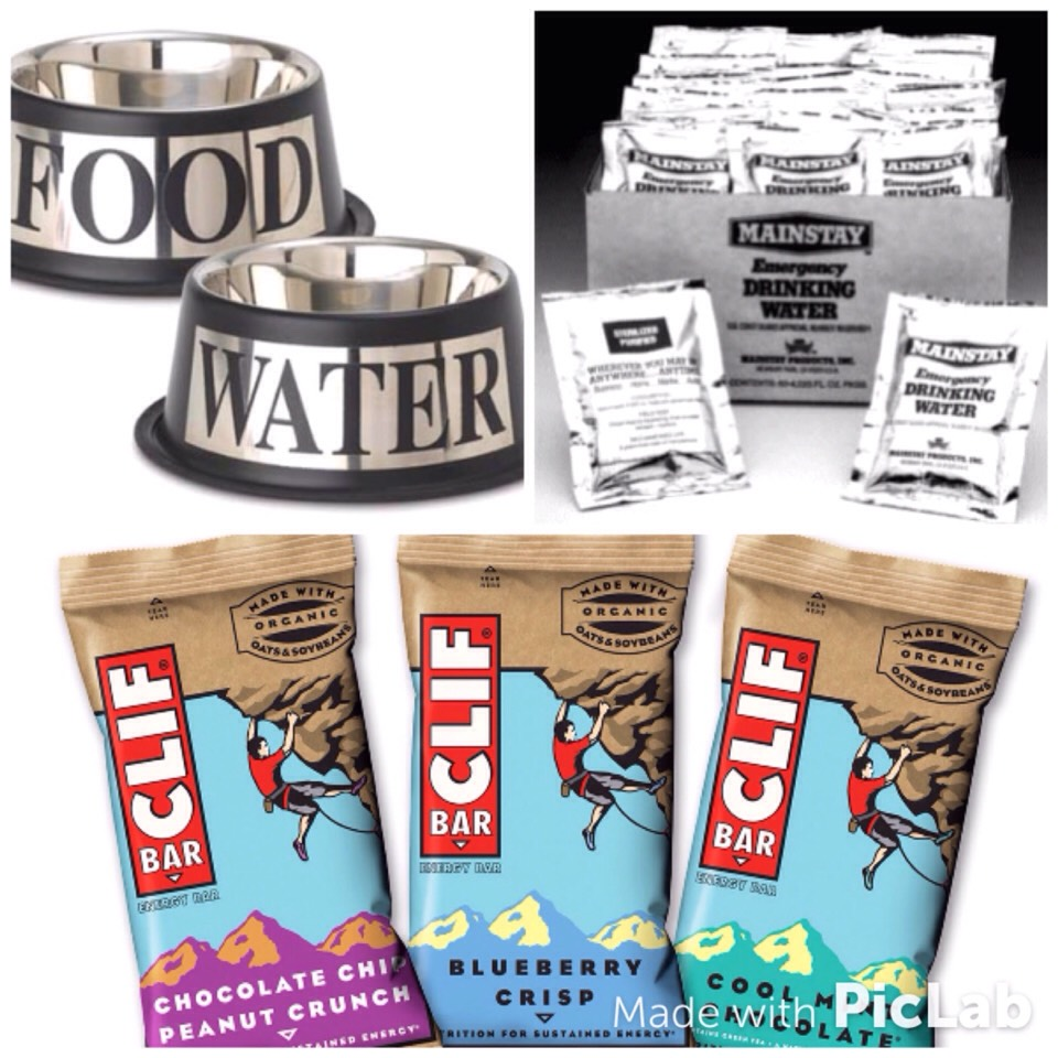 Food and water is also a must need!!!  Food: Cliff bars Granola bars Space/Army meals  Drinks: Water  Water is key to stay hydrated